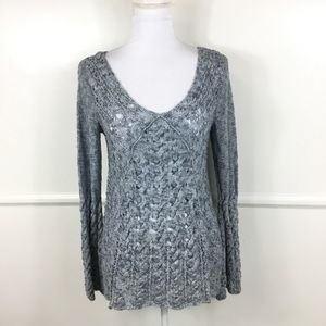 Free People Blue Bell Sleeve Knit Sweater Small
